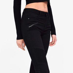 Zara Black Moto Jeans with Zips